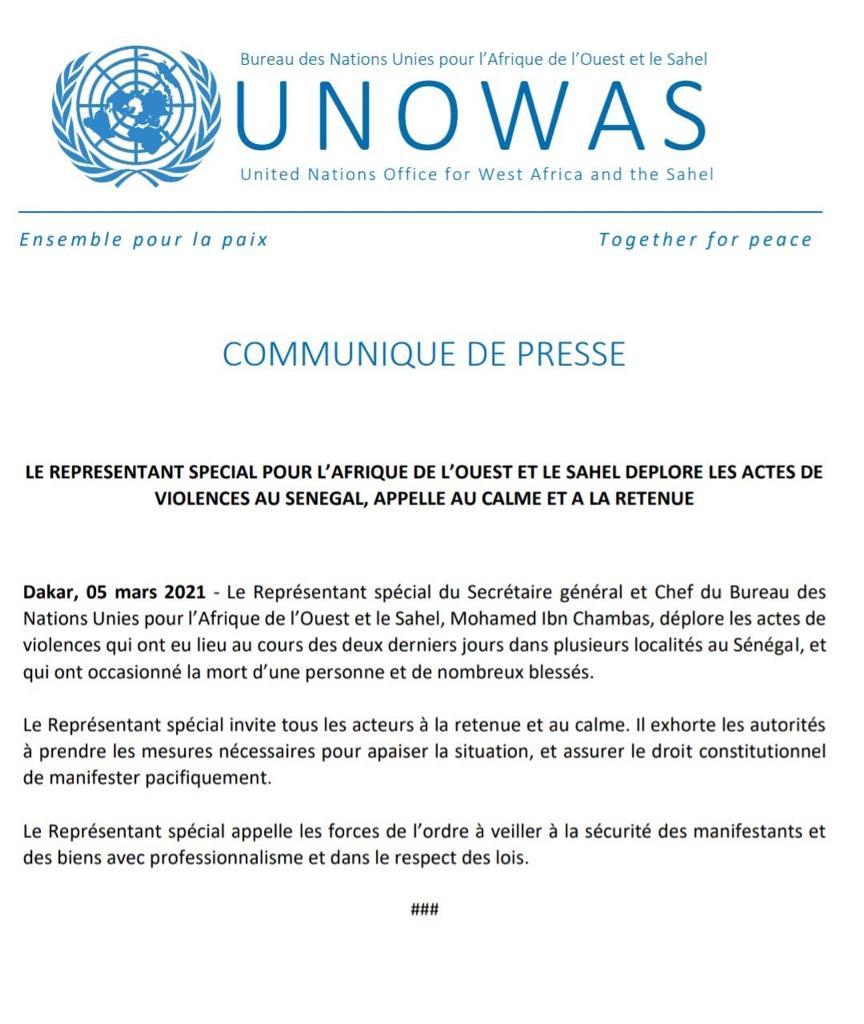 Le bureau  des Nations unies pour l'Afrique trempe les pieds dans la danse et dénonce les violences