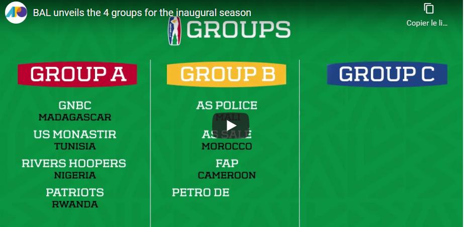 La Basketball Africa League (BAL) dévoile les 3 groupes de la compétition