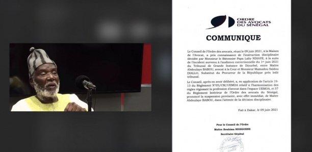 [Document] Clash avec le substitut du procureur de Diourbel : Me Babou sanctionné